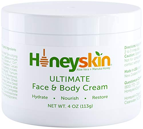 Honeyskin Manuka Honey Face and Body Moisturizing Cream - For Dry Itchy Sensitive Skin - Redness, Eczema, and Rosacea - Skin Tightening Moisturizer Lotion - Natural Aloe and Coconut Oil (4oz)