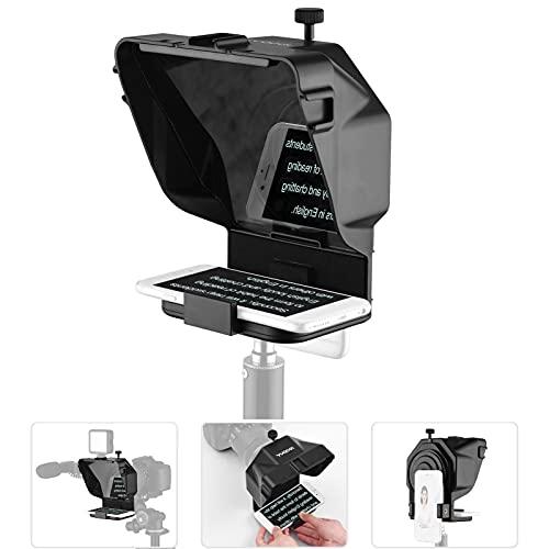 Teleprompter para Youtube Tiktok Video Live Streaming, teléfono Inteligente, cámara DSLR, portátil, con Control Remoto y Anillo Adaptador de Lente (Color : For Phone~Without Stand)