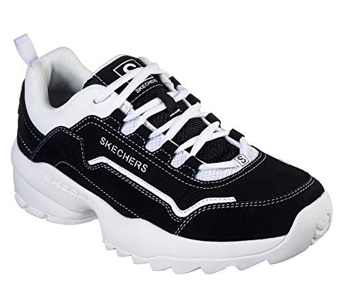 Skechers Mens Tidao Lace Overlay Jogger Low Top Sneaker Shoes Black/White 10