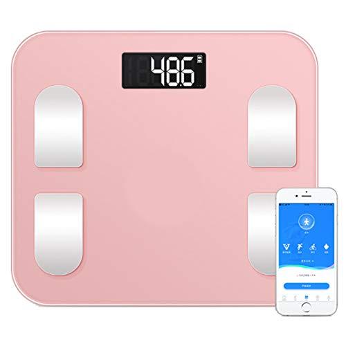 QMKJ Bluetooth Smart Body Escala de Grasa Digital Escala electrónica baño doméstico Escalas Cuerpo composición analizador con Smartphone aplicación 180KG Rosa