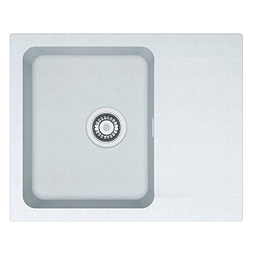 Franke Kitchen Sink Made of Granite (Tectonite) with a Single Bowl Orion OID 611-62-white 114.0286.444, White Polar