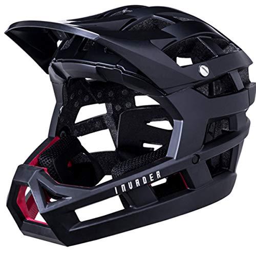 KALI Invader-Casco Integral para Bicicleta, Unisex Adulto, Negro Mate Macizo, L-XXL (58-63cm)