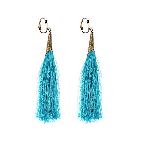 Pendientes de borla con pendientes largos de color plateado antiguo retro para mujeres Bohemia Ear Cuff Earing Indian Ethnic Jewelry azul claro