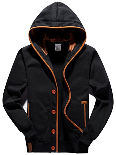 YuKaiChen Men's Fleece Hoodie Button-up Jacket Hooded Sweatshirt Black Large