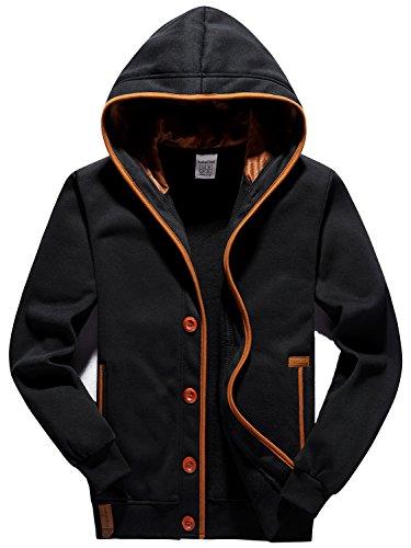 YuKaiChen Men's Fleece Hoodie Button-up Jacket Hooded Sweatshirt Black Large
