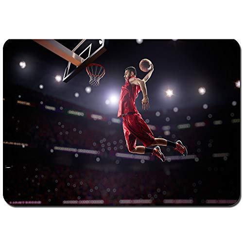 kThrones Antideslizante Alfombra De Baño,Gimnasio de acción de Jugador de Baloncesto Rojo,Alfombra de Cocina Alfombra Mascota,Alfombras de Ducha 75x45cm