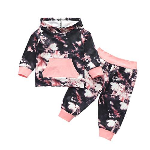 Conjunto de trajes para bebés, recién nacidos y niñas de manga larga empalme Tie-Dye Hoodie+conjunto de pantalones, ropa de niña Tops + pantalones, para niños de 12 a 18 meses (negro)