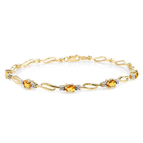 Galaxy Gold 3.39 Carat 14k Solid Gold from This Perspective Citrine Diamond Bracelet