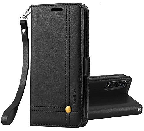 Ferilinso Funda para Funda Xiaomi Redmi Note 9S Carcasa, Carcasa Cuero Retro Elegante con ID Tarjeta de Crédito Tragamonedas Soporte de Flip Cover Estuche de Cierre magnético (Negro)