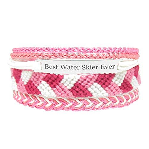 Miiras handgemachtes Armband für Frauen - Best Water Skier Ever - Rosa - Aus Stickgarn und Rostfreier Stahl - Geschenk für Wasserskifahrer