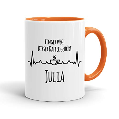 True Statements Tasse Finger weg Dieser Kaffee gehört Wunschname personalisiert - personalisierte Kaffeetasse mit Wunsch-Name ? spülmaschinenfest ? tolles Geschenk zu Weihnachten, innen orange