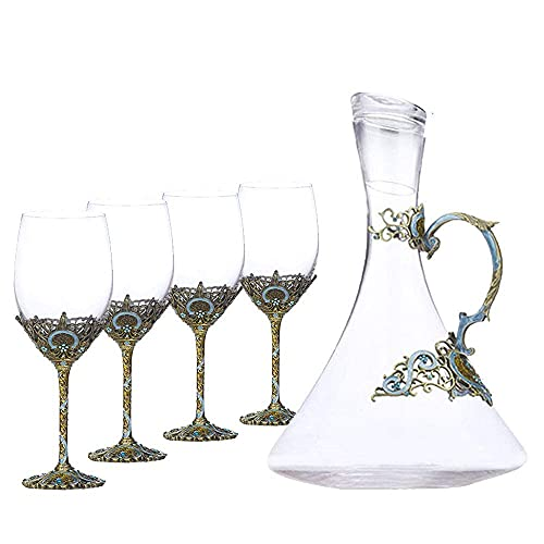 XiYou Tea Set European Crystal Goblet Enamel Glass Red Wine Glass Decanter Tea Set Teapot Ceramic Bone China Tray Afternoon Tea Party, Gift