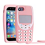 Mulafnxal 3D Nokiya Classic Silicone Case for iPhone 8 Plus/7 Plus/6S 6 Plus 5.5' Cute 3D Retro Cartoon Cover,Kids Girls Soft Gel Character Cellular Cases,Funny Protector with Lanyard for iPhone 8Plus