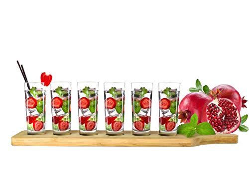 Sendez Lot de 6 verres à shot avec planche en bois 60 ml