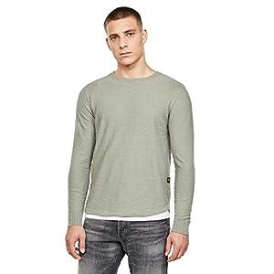 [G-Star RAW ジースターロゥ] ニット セーター メンズ 長袖 コットン 薄手 綿 グレー グリーン 緑 R Straight Knitted Top