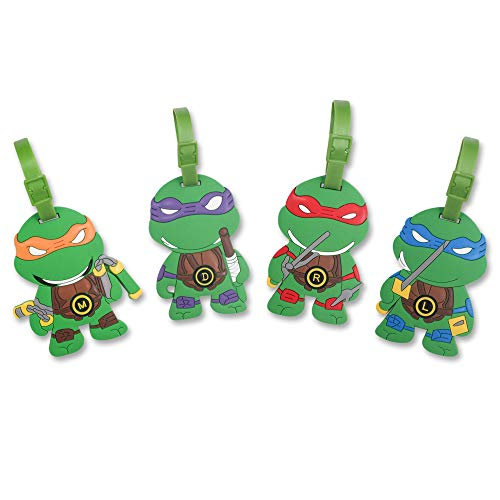 Finex 4 Pcs Set TMNT Donatello Leonardo Michelangelo Raphael Silicone Travel Luggage Baggage Identification Labels ID Tag for Bag Suitcase Plane Cruise Ships with Belt Strap