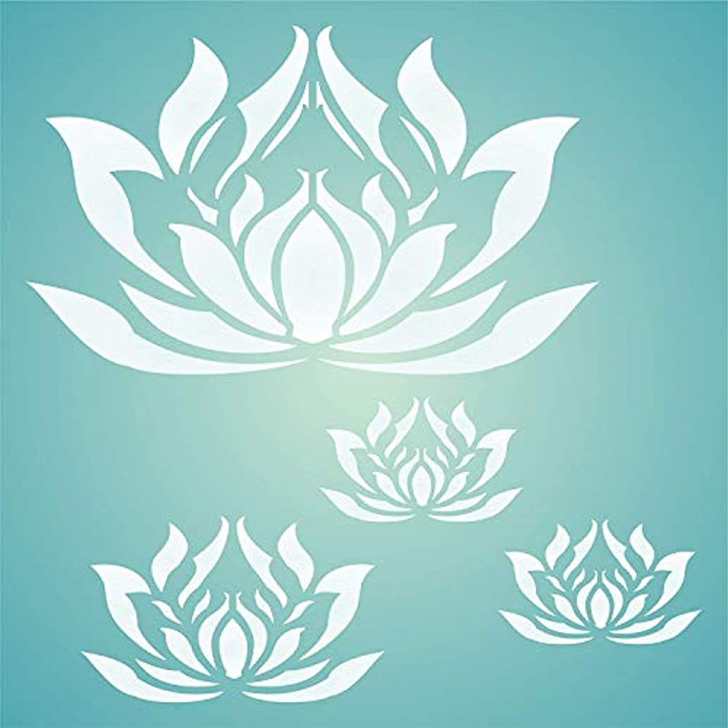 """LOTUS FLOWERS STENCIL (size 10.5""""w x 10.5""""h) Reusable Stencils for Painting - Best Quality Scrapbooking Wall Art Décor Ideas - Use on Walls, Floors, Fabrics, Glass, Wood, Posters, and More…"""