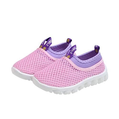 DEBAIJIA Zapatos para Niños 1-4T Bebés Caminata Zapatillas Ahuecada Suela Suave Malla TPR Material Transpirables 23/24 EU Rosa (Tamaño Etiqueta 25)