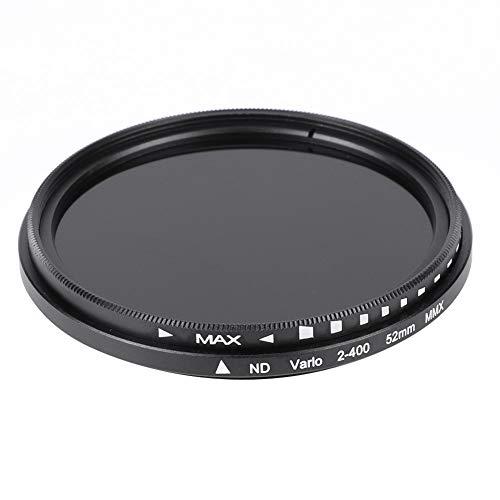 Bindpo Filtro ND de 52 mm, ND2 a ND400 Filtro de Densidad Neutra de Vidrio óptico Ajustable, Accesorio de Lente Universal para Canon para Nikon para Sony para Fujifilm