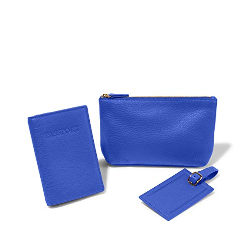 Leatherology Electric Blue The Travel Necessities Gift Set - Full Grain Leather Travel Pouch Passport Cover and Luggage Tag Set