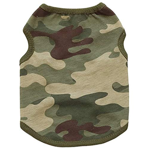Clopon Pets Soft Summer Vest Dogs Tank Tops Puppy Shirts Cute Camo Doggie Apparel Small Medium Dogs Sweatshirt
