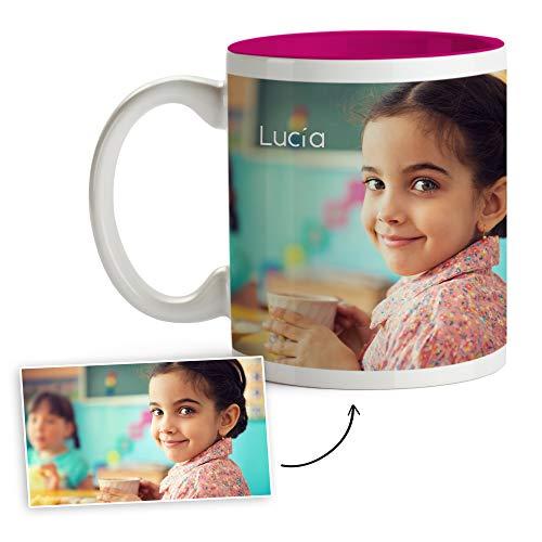 Fotoprix Tazas Personalizadas con Foto y Texto | Regalos Personalizados con Foto para niña o niño | Taza Personalizada con Nombre | Taza de Color Rosa
