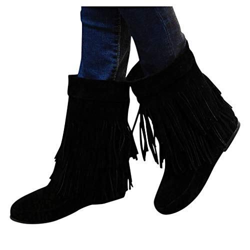 Review Of Women's Fringed Boots Dainzuy Fashion Increased Flat Bottom Wedges Mid Calf Boot Boots Sue...