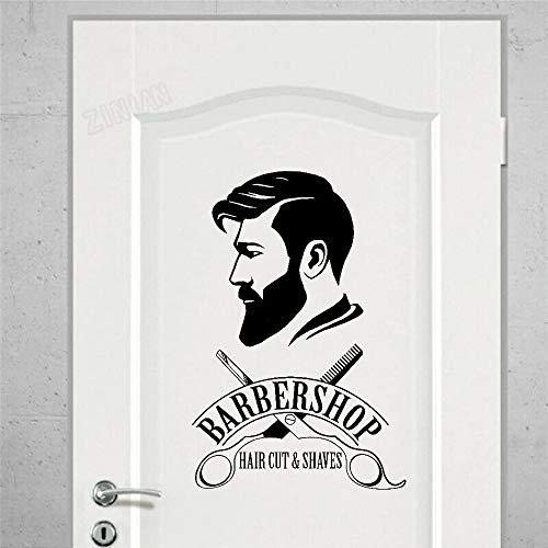 WERWN Barbería Letrero Pared Ventana Vinilo Pared salón de Belleza Hombres decoración del hogar Arte