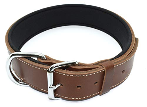 Tuberk Soft Padded, Genuine Leather, Luxury Durable and Strong Adjustable Dog Collar for Walking Training (L, Brown)