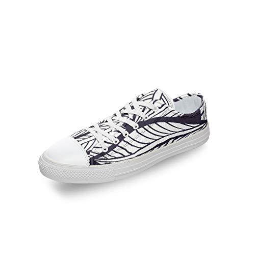 RNGIAN Damen Sneaker mit Blättermotiv aus Segeltuch, niedriger Schnitt, lustige Baseballschuhe für Erwachsene, Weiß - weiß - Größe: 45 EU