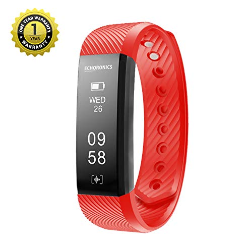 MevoFit Echo Dash HR Fitness Band & Smart Watch - Fitness Tracker Bands with Heart Rate for Men & Women   Echoronics by MEVO (Red )