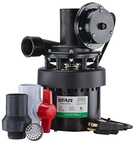 Star STL001 Automatic Utility / Laundry Sink Pump (1/3 HP) Mounts Directly Under Sink Tub, Heavy-Duty Thermoplastic, 115V, Includes Drain Screen, Check Valve & Ball Valve