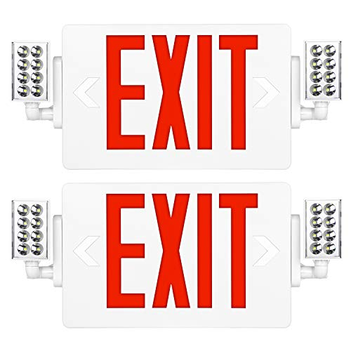Red Exit Sign, 120-277V Double Face LED Combo Emergency Light with Adjustable Two Head and Backup Battery - 2 Pack