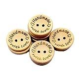 LAVALINK Hecho a Mano Botones De Madera, Delicados Botones De Madera Redonda Para Coser Y Elaborar Decoraciones 100pcs