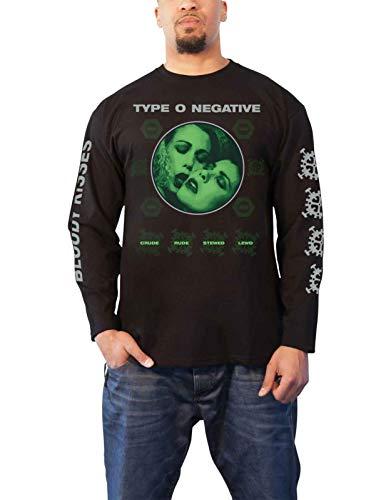 Type O Negative T Shirt Crude Gears Band Logo Oficial De Los Hombres Negro Long Size M