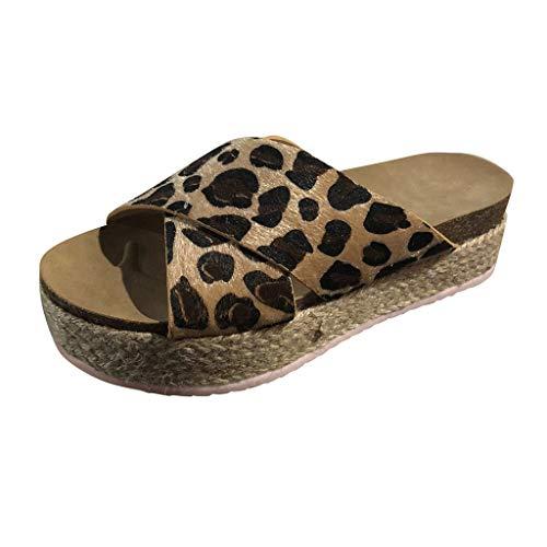 Lenfesh Damen Sandalen, Damen Sommer Plattform Wedges Keil Plattform Flip Flops Strand beiläufige Hefterzufuhr Schuhe Mode Sandalen mit Plateau-Sandalen und Plateau-Strandschuhe