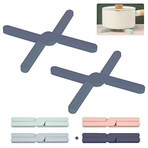 ORIJOYNA 2PCS Foldable Silicone Trivets - PotHolder Thick Trivets Non-slip & Heat-Resistant - Expandable Pot Mat - 8.5'' Length for Hot Pot, Hot Pad, Dishwash (Gray)
