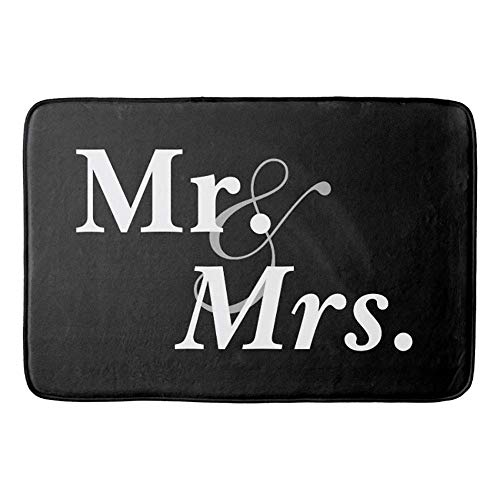 AGHRFH Mr and Mrs White on Black - Felpudo de baño (23.6 x 15.7 pulgadas)