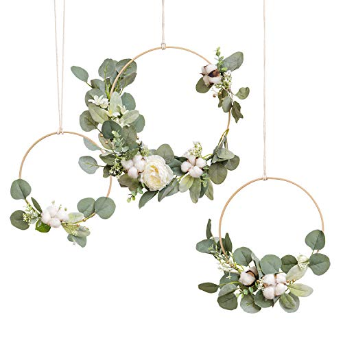 Ling's moment Eucalyptus & Cotton Wooden Hoop Wreath for Wedding Flowers,Bridal Showers, Baby Shower, Birthday Decor, Nursery Wall Decor, Floral Wreath for Backdrop, Table Wreath Garland (Set of 3)