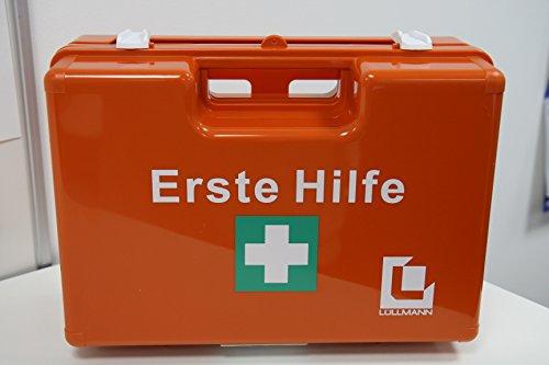 VERBANDSKASTEN Erste Hilfe Koffer Lüllmann DIN 13157 Verbandkasten inkl. Wandhalter orange Dom