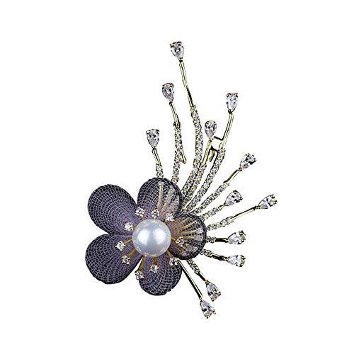 KEKE Perle Blume Brosche für Frauen Brides erstellt Strass Brosche