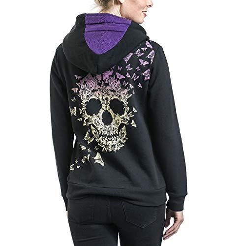 Dawnzen Damen Kapuzenpullover für Halloween, Totenkopf Bedruckte Langarm Kapuzen Sweatshirt Hoodie mit Reißverschluss Mode Oversize Mantel Pulli für Party Karneval
