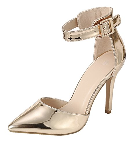 Cambridge Select Women's Closed Pointed Toe D'Orsay Buckled Ankle Strap Stiletto High Heel Pump,10 B(M) US,Rose Gold Patent PU