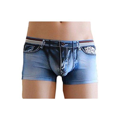 Amlaiworld Herren Baumwolle Spandex Jeans Boxer Reizwäsche, Dunkelblau, M