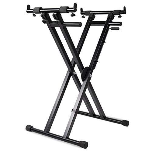 Synthesizer Tragbare Guqin Stand Allgemeine verdickte Typ Unterstützt 7-Stufen-Höhe tragbar und bequem Höhenverstellung (Color : Black, Size : 128 * 105 * 47cm)