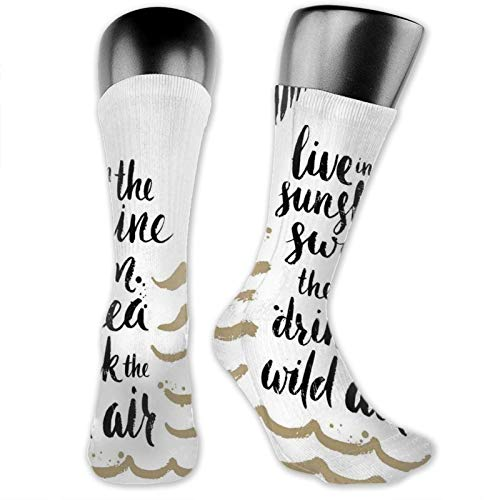 Moruolin Compression High Socks,Tropical Theme Live In The Sunshine Swim The Sea Drink The Wild Air,Women and Men For Running,Athletic,Hiking,Travel,Flight