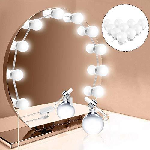 Viala Luces LED Kit de Espejo con 10 Bombillas regulables,3 Modos Ajustable de Color de Luz,Luz Espejo Maquillaje,Tocador,Espejo,Baño,Regalo para Fiesta,Cumpleaños,Espejo de Maquillaje