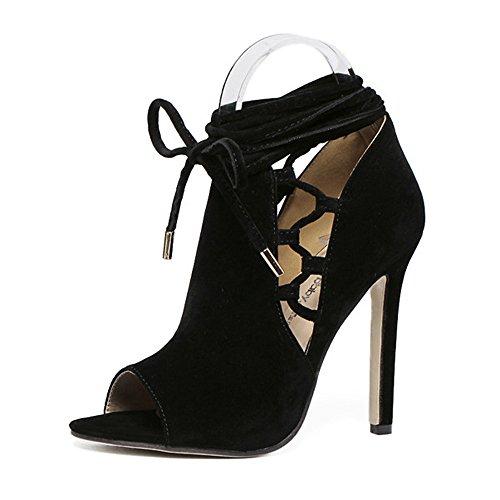 GAOLIXIA Printemps Et Été Ms Fish Bouche Sandales Cross Straps Talons Hauts Street Nightclub Mode Chaussures Noir (Color : Black, Taille : 39)