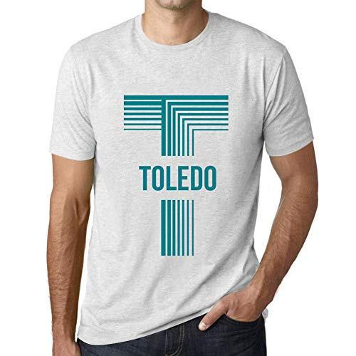 One in the City Hombre Camiseta Vintage T-Shirt Gráfico Letter T Countries and Cities Toledo Blanco Moteado