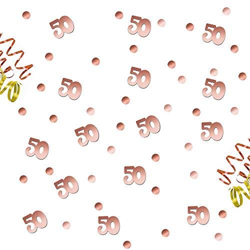 Oblique Unique® 50. Geburtstag Jubiläum Konfetti Roségold Punkte + Zahl Mix Tisch Deko über 300 Stück